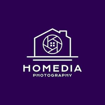 Estilo da linha do logotipo da fotografia em casa