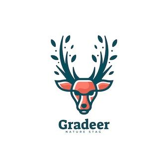 Estilo da mascote da cor dos cervos da ilustração do logotipo.