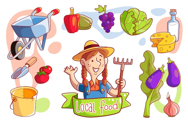 Estilo de agricultura orgânica ilustrado