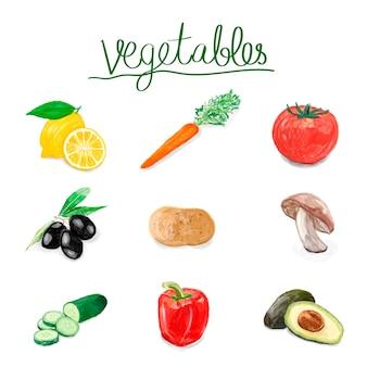 Estilo de aguarela desenhada legumes mão