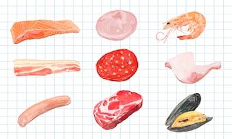 Estilo de aguarela mão desenhada carne produto
