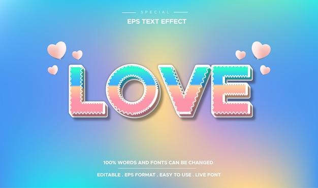 Estilo de amor com efeito de texto editável