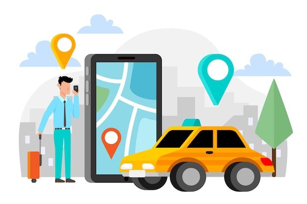 Estilo de aplicação de táxi