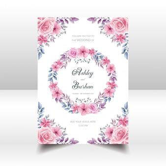 Estilo de aquarela de cartão de convite de casamento floral