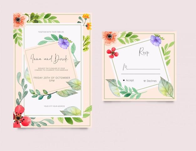 Estilo de aquarela de cartão de convite de casamento rsvp