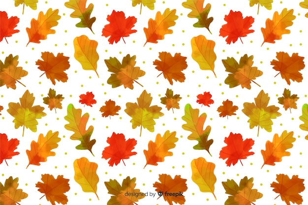 Estilo de aquarela de fundo de folhas de outono