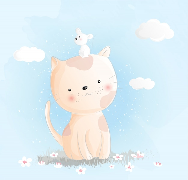 Estilo de aquarela de gato bebê fofo