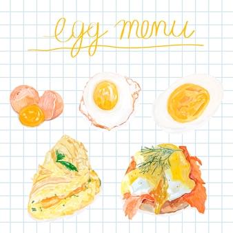 Estilo de aquarela de mão desenhada ovo menu
