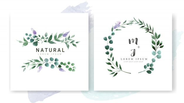 Estilo de aquarela de modelo de cartão de convite de casamento floral