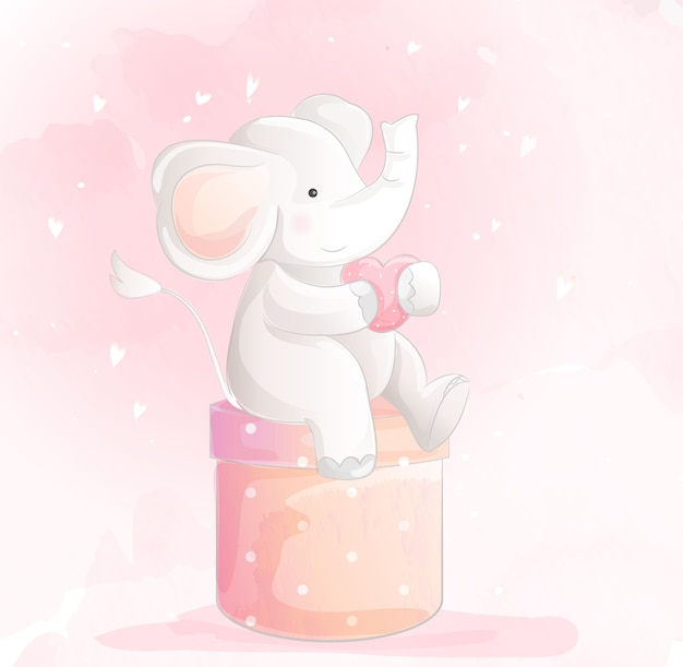 Estilo de aquarela elefante bebê fofo