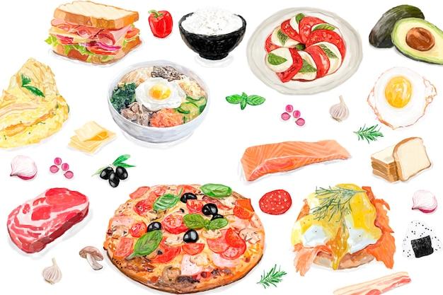Estilo de aquarela internacional de mão desenhada comida