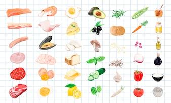 Estilo de aquarela mão desenhada alimentos ingredientes