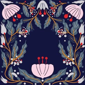 Estilo de art deco de moldura de cartão floral