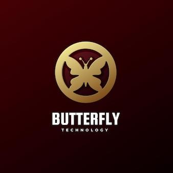 Estilo de arte da linha de borboletas do logotipo