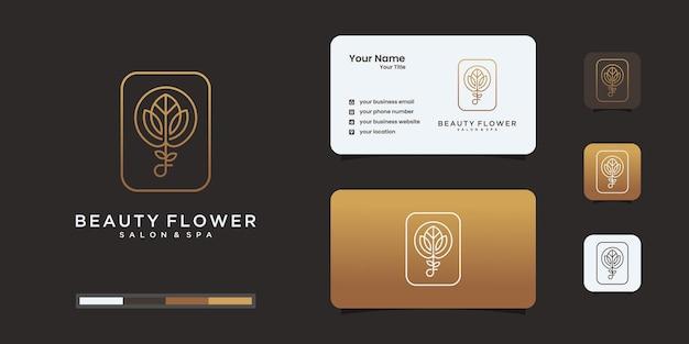 Estilo de arte de linha de design de logotipo de flor de lótus.