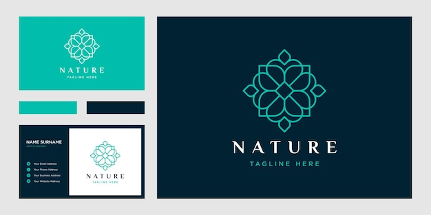 Estilo de arte de linha de flores. logotipo do círculo de luxo e modelo de cartão de visita