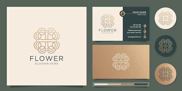 Estilo de arte de linha de logotipo de flor abstrata design fino com modelo de cartão de visita premium vector