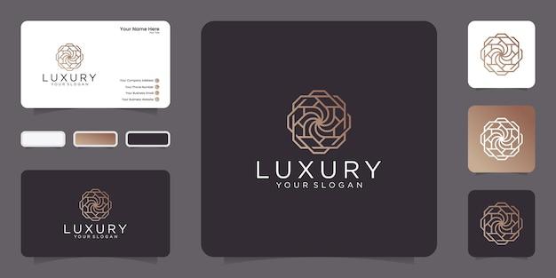 Estilo de arte de linha de luxo. projeto abstrato do logotipo do ornamento com cartão de visita