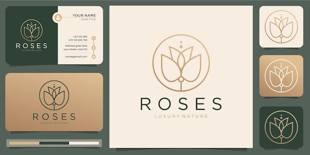 Estilo de arte de linha de rosas. flor de luxo salão de beleza, moda, cuidados com a pele, cosméticos, produtos de spa e natureza. logotipo e modelo de cartão de visita.