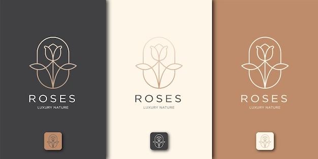 Estilo de arte de linha de rosas. produtos para salão de beleza de luxo com flores, moda, cuidados com a pele, cosméticos, natureza e spa
