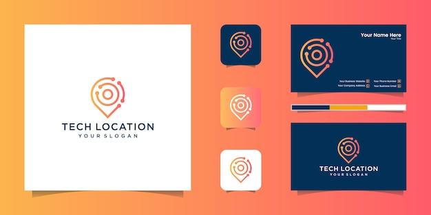 Estilo de arte de linha de tecnologia de localização e cartão de visita