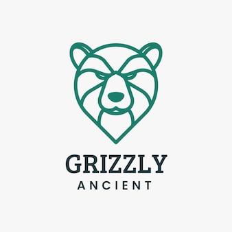Estilo de arte de linha grizzly de ilustração de logotipo.