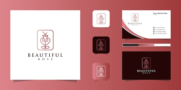 Estilo de arte de linha rosa flor elegante minimalista. produtos de luxo para salão de beleza, moda, cosméticos, ioga e spa. design de logotipo e cartão de visita