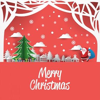 Estilo de arte de papel cartão de natal
