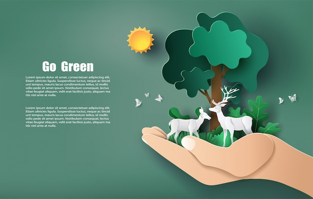 Estilo de arte de papel da mão segurando árvores e plantas com veados, salvar o planeta e energia.