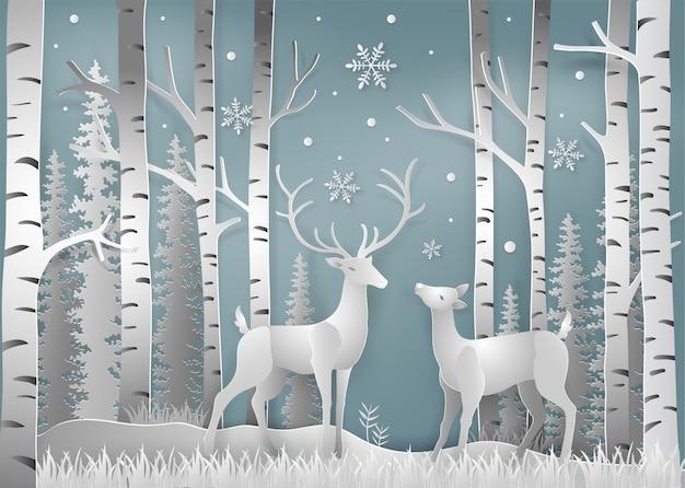 Estilo de arte de papel da temporada de inverno e natal