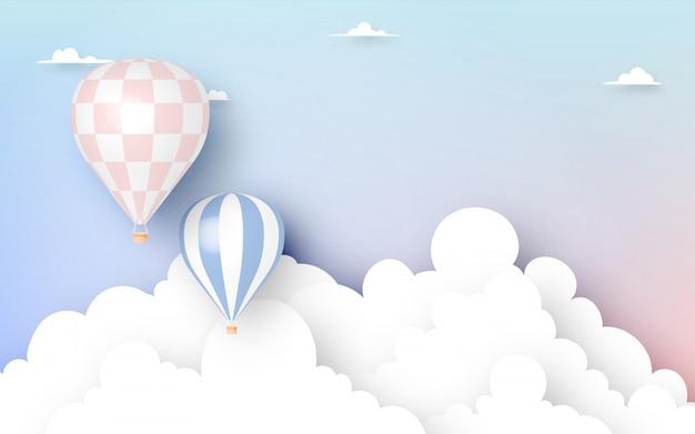 Estilo de arte de papel de balão de ar quente com ilustração em vetor fundo céu pastel