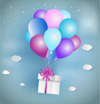 Estilo de arte de papel de caixa de presente branca com fita rosa e balão colorido flutuante