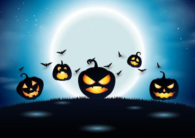 Estilo de arte de papel de fundo de halloween