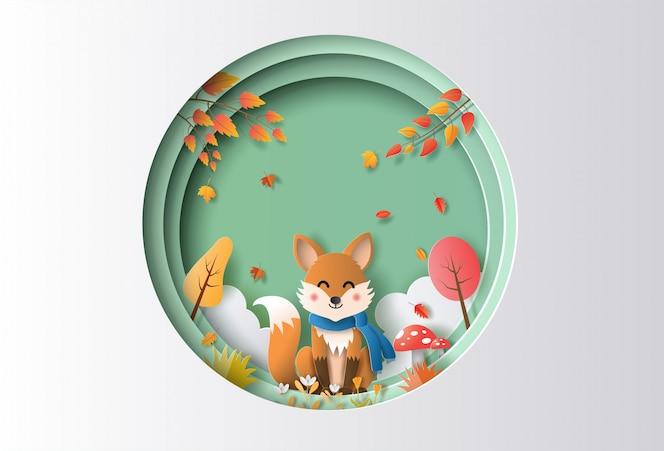 Estilo de arte de papel de paisagem de outono com raposa feliz sentado em uma floresta.