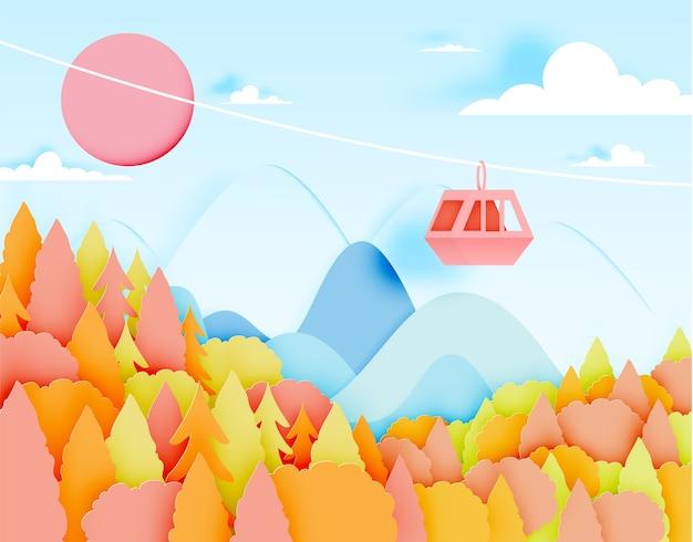 Estilo de arte de papel de teleférico com bela paisagem no outono background vector 23alan