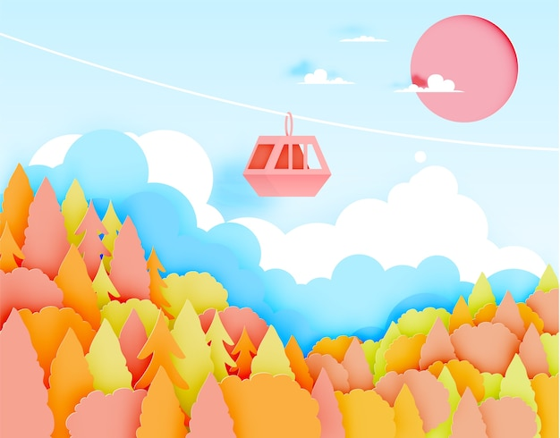 Estilo de arte de papel de teleférico com bela paisagem no outono background vector 23alan