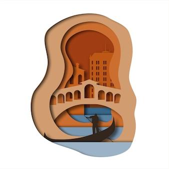Estilo de arte de papel de veneza