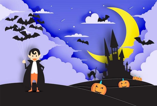 Estilo de arte de papel fofo drácula com céu à noite para o dia das bruxas fundo vector ilustr