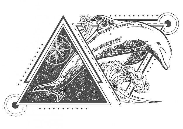 Estilo de arte de tatuagem de golfinho