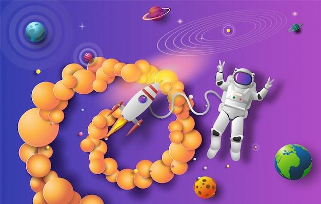 Estilo de arte em papel de astronauta no espaço sideral em missão.