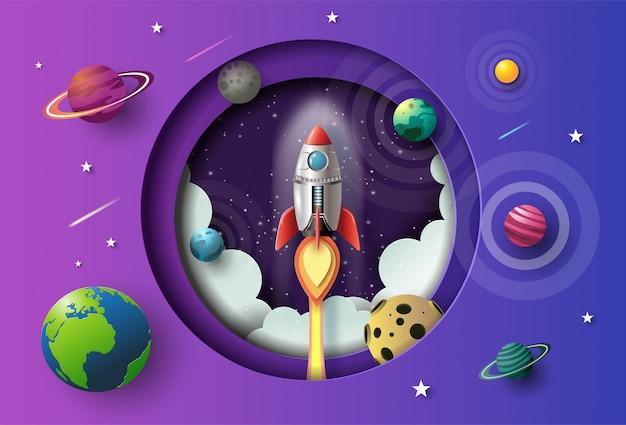 Estilo de arte em papel de foguete voando no espaço