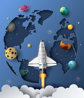Estilo de arte em papel do ônibus espacial decolando no espaço, conceito de start-up, ilustração de estilo simples.
