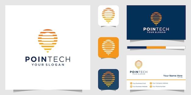 Estilo de arte linha de tecnologia de localização e cartão de visita premium Vetor Premium