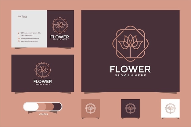 Estilo de arte linha flor rosa. produtos de luxo para salão de beleza, moda, cosméticos, ioga e spa. design de logotipo e cartão de visita
