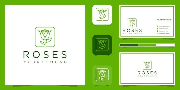 Estilo de arte linha rosa flor elegante minimalista. produtos de luxo para salão de beleza, moda, cosméticos, ioga e spa. design de logotipo e cartão de visita