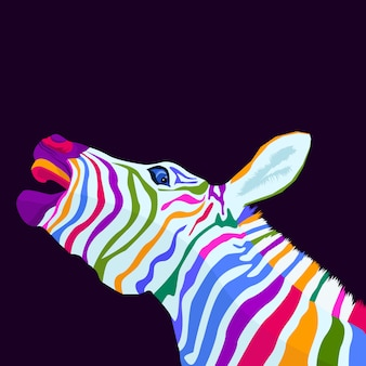 Estilo de arte pop de conceito de zebra colorido