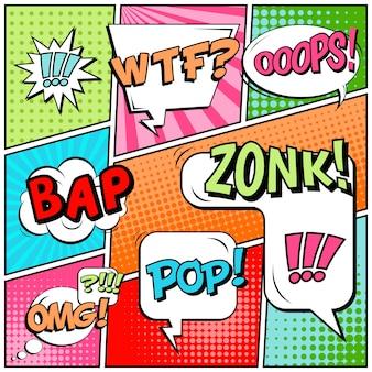 Estilo de arte pop em quadrinhos em branco.