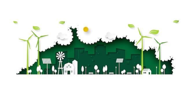 Estilo de arte verde papel cidade eco