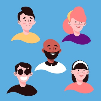 Estilo de avatares de pessoas ilustradas