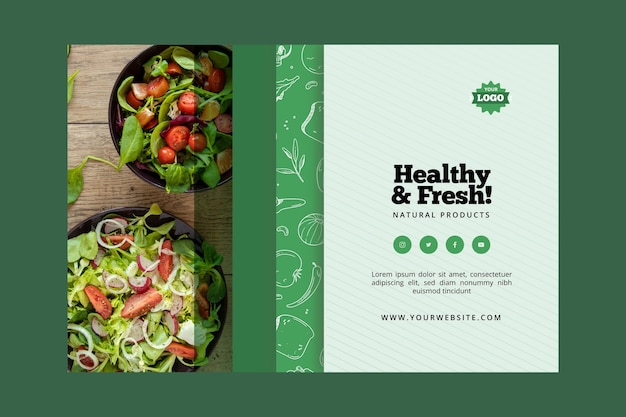 Estilo de banner bio e comida saudável